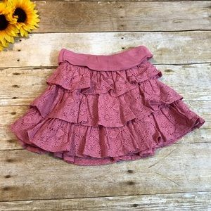 Baby Gap dusty pink lace tiered skirt. Size 3